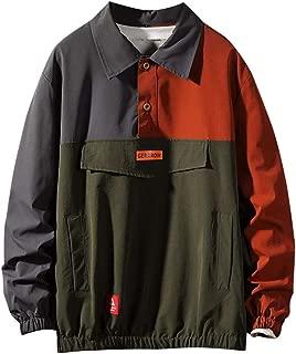 LEKODE Men Sweatshirt Fashion Pocket Patchwork Long Sleeve Tops