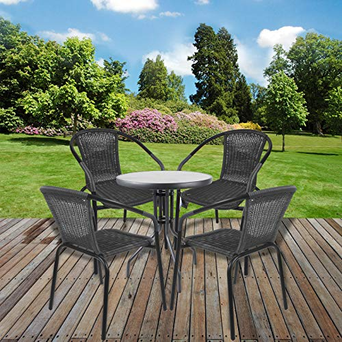 Marko Bistro Set Grey Wicker Chairs Round Glass Table Rattan Seat Outdoor Garden Patio (Table with 4 Chairs)