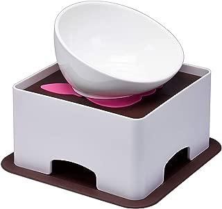 YMAXGO French Bulldog Ceramics Food Bowl with Adjustment Bracket, Double Non-Slip