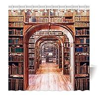 165 x 180 cm 加重 シャワーカーテン 防水防カビ加工 カーテンリング付属 ハウス図書館の本棚