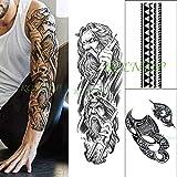 tzxdbh 3PCs-White Fashion Maschile Body Art Adulto Impermeabile Adesivo per Tatuaggi Totem Braccio Completo Coltello per Gatti Cranio Fiore Grande