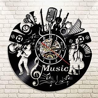GVC 1Piece Vinyl Music Record Reloj de Pared Music Rock and Roll Vinyl Clock Vinyl LP Record Music Wall Art Vintage Clock