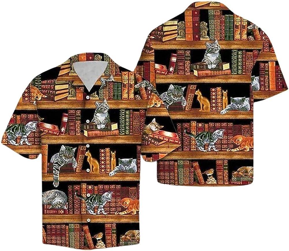 Cat Love Books Max 89% OFF Vintage Bookshelf famous Unisex Sh Beach Hawaiian Shirt