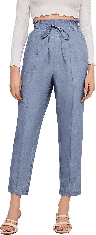 MakeMeChic Women's Casual High Waist Cropped Paper Bag Pants Tie Waist Office Work Trousers