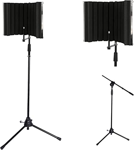 lowest LyxPro VRI-30 Vocal Absorbing and Recording Microphone Isolation Shield Panel with Strong Durable Adjustable TMS-1 Microphone Stand Boom Arm For popular Home Office and Studio Portable outlet online sale & Foldable Stand Mount outlet online sale