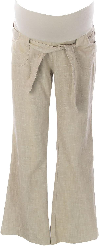 JULES & JIM Maternity Women's Belted Linen Trousers, Medium, Sand