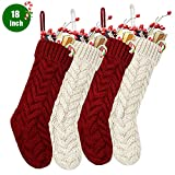 "SEVENS Knit Christmas Stockings, 4 Pack 18"" Large Cable Xmas Stockings Classic Burgundy Red & Ivory White Chunky Hand Stockings"