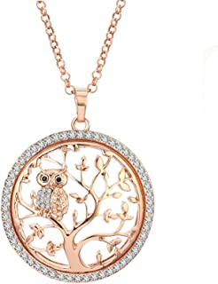 Tree of Life Necklace for Women, Owl Pendant Necklace Gold or Silver Long Chain Necklace CZ Crystal Necklace