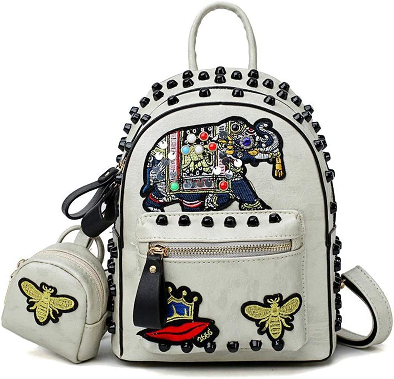 DYR Backpack Rivet Backpack Mother Bag Ladies Shoulder Bag Outdoor Travel Bag Chest Bag Handbag
