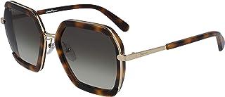 نظارة شمسية نسائية من SALVATRE FERRAGAMO مستطيلة بشعار Sf كلاسيكي - السلحفاة الكلاسيكية