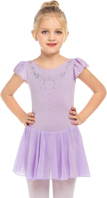 Zaclotre Girls Ruffle Sleeve unisex Dance Dress Diamond Glitter Genuine Ballet