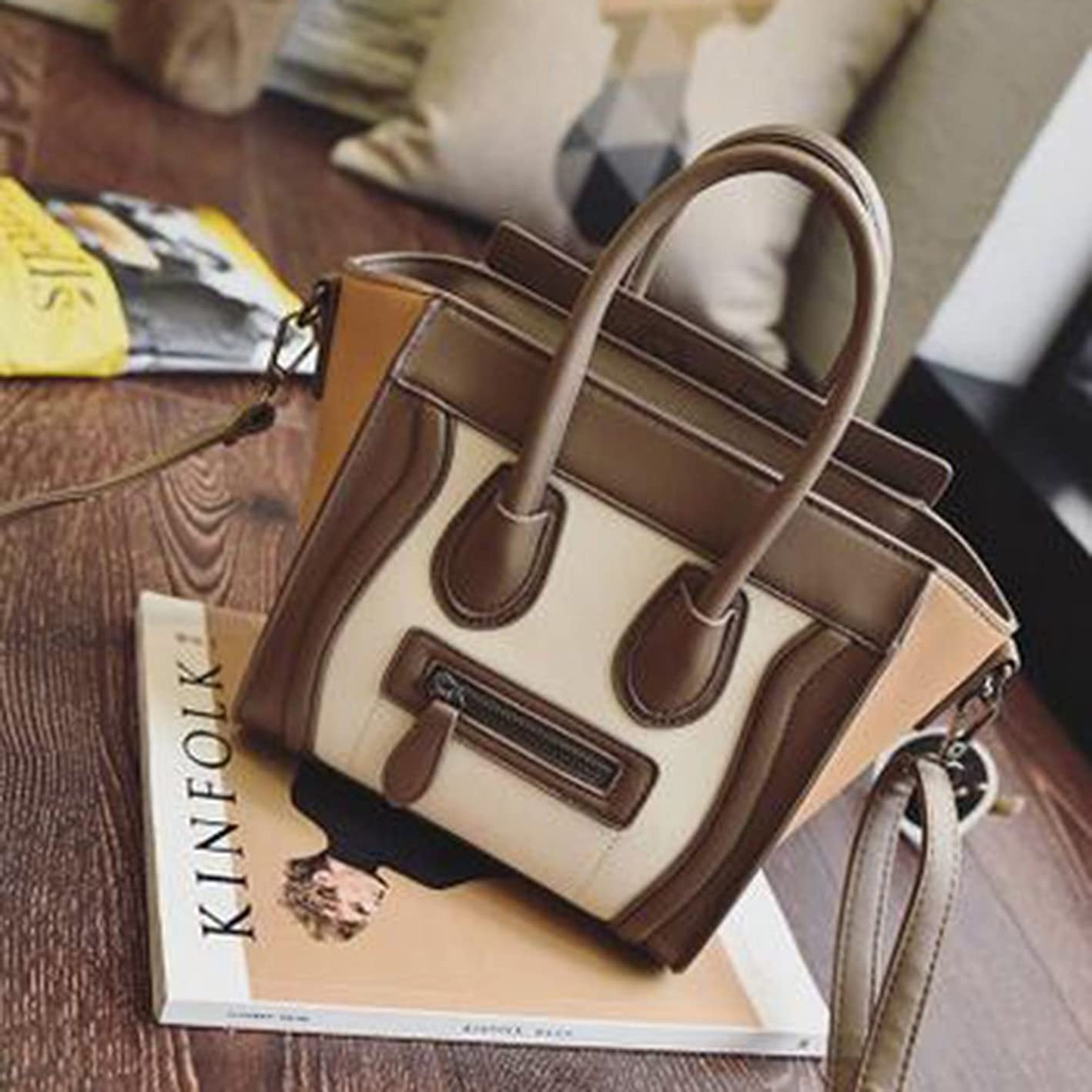 へこみ窓適格トートバック/ショルダーバック/ハンドバック/Women Vintage PU Leather Handbags Lady Smile Face Totes Bags Messenger Wallet