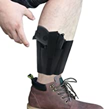 Ankle Holster with Padding for Concealed Carry with Elastic Secure Strap Pistol Concealment for Women Men Fits for Small to Medium Frame Pistols and Revolvor, Black