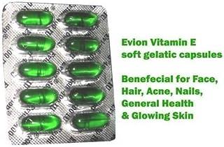100 cápsulas Evion Vitamina E para rostro brillante. cabello fuerte. acné. uñas. piel brillante 400 mg