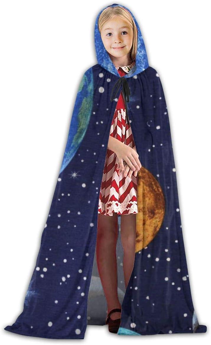 Hangdachang Planeta Tierra Espacio Estrella Longitud de la Capa Capa Popular con Capucha Navidad Halloween Cosplay Fiesta de Disfraces Capa Ni/ños