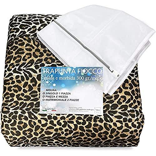 tex family edredón de Leopardo DIS. Leopardo edredón Made in Italy–2plazas