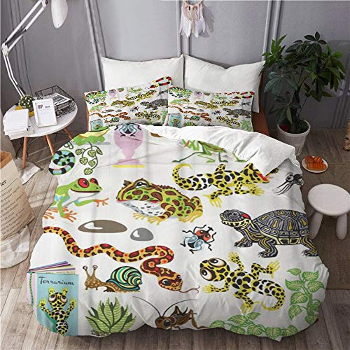 QINCO Duvet Cover Set,Red Snake Reptiles Amphibians and Insects Cartoon Terrarium AnimalsDecorative 3 Piece Bedding Set with 2 Pillow Shams King Size