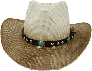 Sun Hat for men and women Summer Men Women Straw Western Cowboy Hat Outdoor Seaside Sun Visor Beach Hat Turquoise Sun Hat Sunbonnet