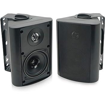 Herdio 4 Inches Outdoor Indoor Patio Bluetooth Wall Mount Speakers Waterproof (Black)