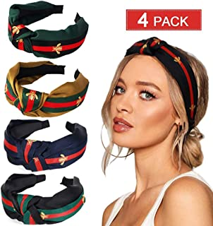 Cute Knot Headbands for Women, 4 Pack Knotted Headbands Wide Stripe with Bee Animal Cross Knot Hair Band with Cloth Wrapped