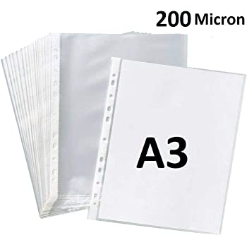 True-Ally Heavy Duty 25 Pcs 200 Micron Transparent Document Sleeves, Leaf Sheet Clear Certificates/Waterproof Sheet Protectors 11 Holes Punched Ring Files Folder (A3 Size) (25 Sheets - 200 Micron)
