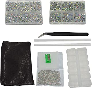 Queenme 6000pcs AB Hotfix Rhinestones Mixed 7 Size Hot Fix Stones Iron on Flatback Crystals Round Glass Gems with Rhinestones Picker Pen and Tweezer SS6-SS30, 2-6.5mm