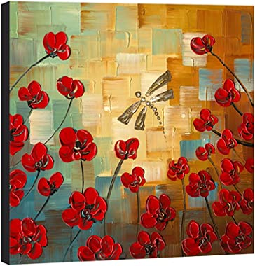 Wieco Art Dragonfly Floral Oil Paintings on Canvas Wall Art Ready to Hang for Bedroom Kitchen Dining Room Home Decorations Mo