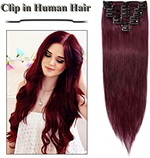 Clip in Hair Extensions Wine Red 14-24 inch Remy Human Hair for Women 8pcs 18 Clips Full Head Soft Straight Hair(16