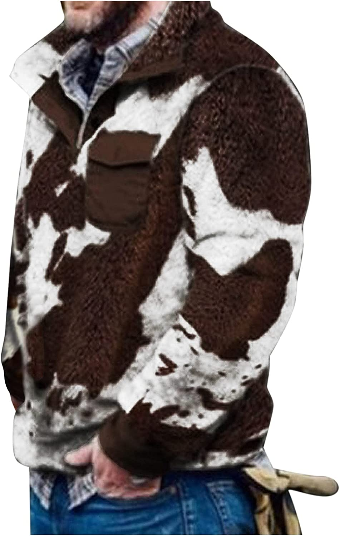 RIZI Mens Bear Fleece Jacket Button Down, Men's Casual Winter Teddy Fuzzy Fleece Cotton Trucker Plush Pullover Sweater Coat