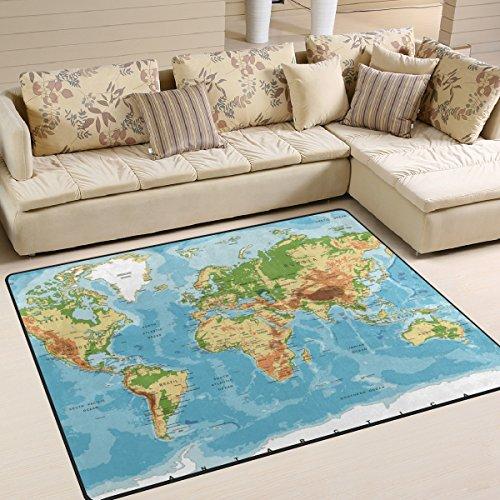 JSTEL INGBAGS Tapis de salon et chambre à coucher super doux et moderne pour enfants Motif carte du monde