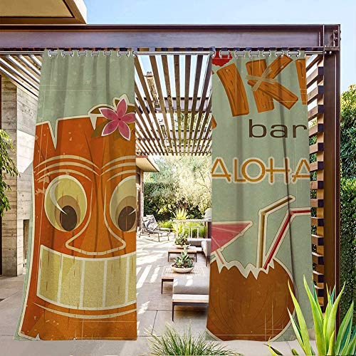 FOEYESEE Outdoor Curtain 2 Panels Invitation to Tiki Bar Old Fashion Display Coconut Drink Mask and Flowers Print Multicolor Great for Patio/Pergola/Porch 108x96 Inch