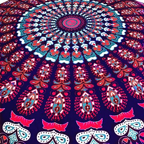 JJ. Zubehör geometrisches Kissen, 1 x großes Mandala-Bodenkissen rund Bohemian Meditation Kissenbezug Ottoman Pouf C