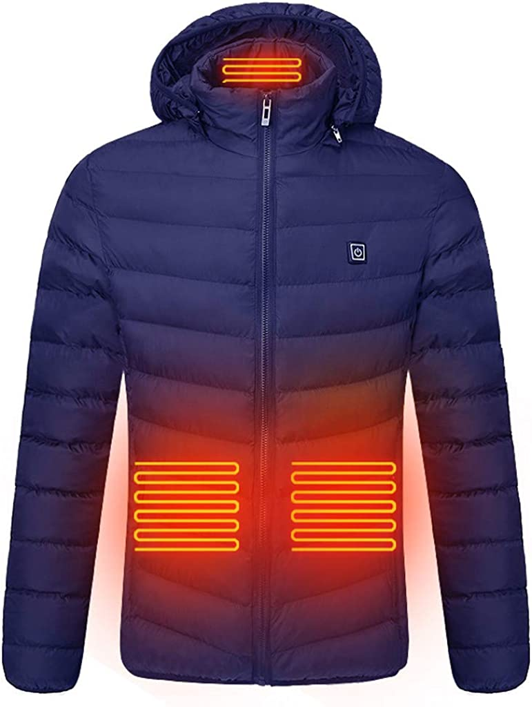 Heating Jacket for Men, F_Gotal Men's Heated Jacket Soft Windproof Heated Cotton Jackets USB Electric Performance Jacket