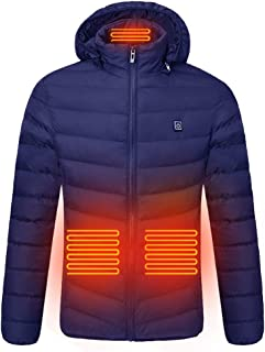 KAIXLIONLY Heated Down Jacket, USB Heating Winter Warm Coat for Cycling,Skiing,Motorcycle,Fishing,Hiking for Men Women