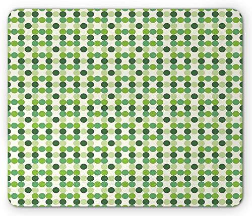 Grünes Mauspad, Kreise mit verschiedenen Farbtönen, Farbtöne und Farbtöne mit grünem geometrischem Muster im Retro-Stil, Rechteck-Rechteck, rutschfestes Gummi-Mauspad, grüne Creme