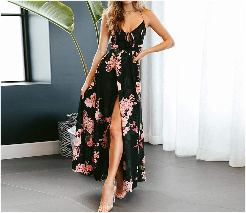 Boho Deep V Neck Backless Long Dress Split Cross Lace Up Summer Dress Sleeveless Beach Maxi Dress