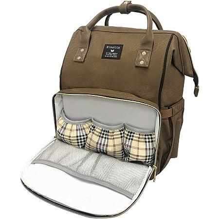 [Amazon限定ブランド] ALLONE(アローン) Minette マザーズバッグ ブラウン 茶 25L大容量 多機能 防滴加工 保温ポケット 盗難防止ポケット 取り外し可能なバックル ベビー用品収納バッグ 通勤 旅行 出産祝い
