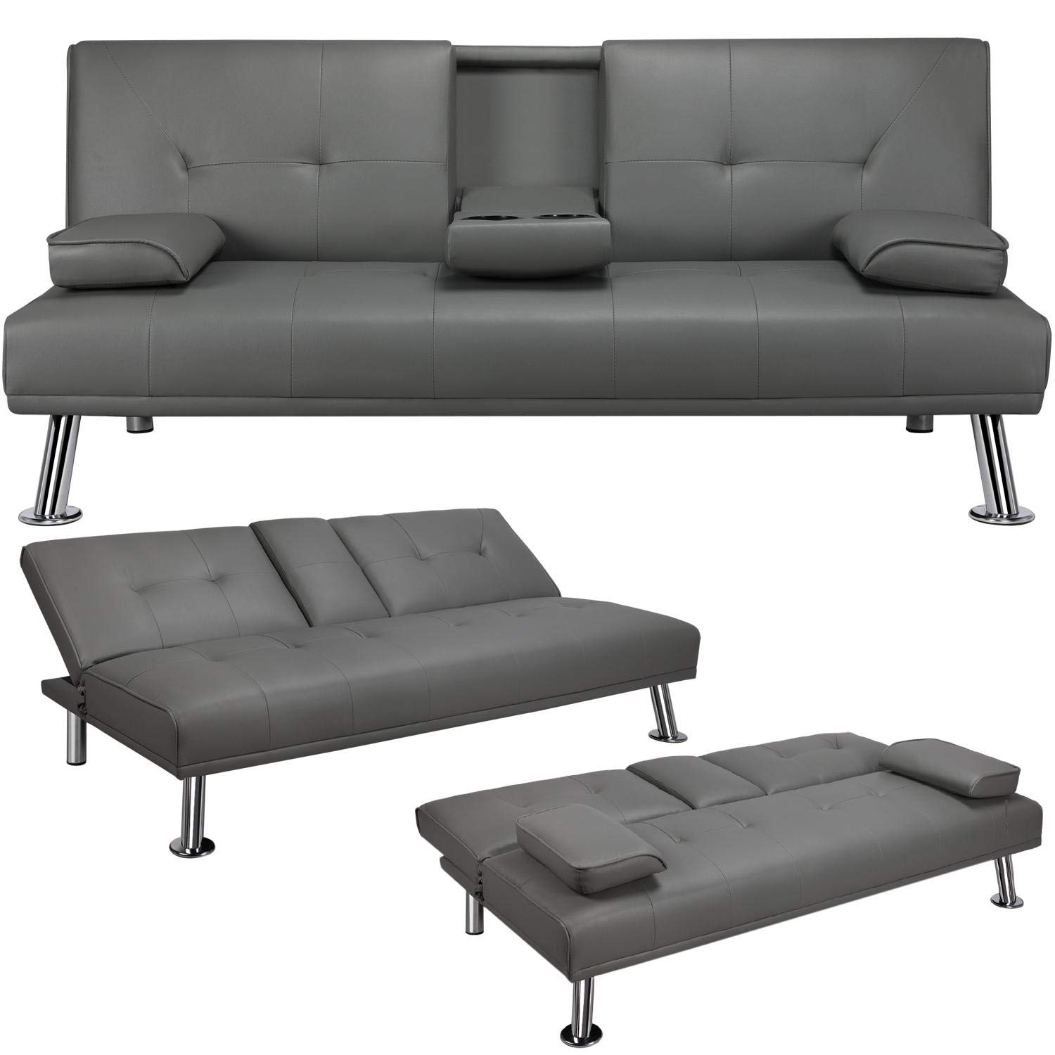 YAHEETECH Futon Sofa Bed Faux Leather Futon Couch Sleeper Sofa Convertible Sofa Couch Bed with Cup Holders and Armrest Gray