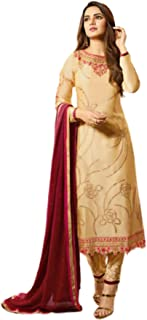 Golden Indian/Pakistani Women Wear Satin Georgette Embroidered Straight Pant Suit Party Wear Ethnic Style Dress 5913