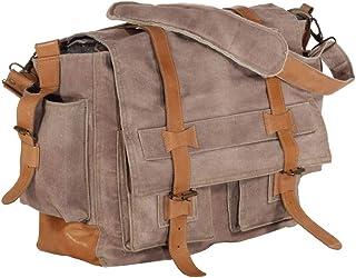 vidaXL Schultertasche Ledertasche Umhängetasche Einkaufstasche Kuriertasche Tragetasche Handtasche Tasche Braun 42x13x34,5cm Segeltuch Echtleder