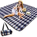 Picnic&Outdoor Blanket Waterproof and Extra Large,HEHUI 80'x80' 3-Layer Wear-Resistant Picnic Blanket Soft Cozy No Fading,Foldable Outdoor Mat Easy Cleaning for Picnic Camping(Blue-Yellow, 80'x80')