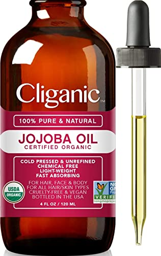 USDA Organic Jojoba Oil, 100% Pure (120ml Large)   Natural Cold Pressed Unrefined Hexane Free Oil for Hair, Face, Nai...