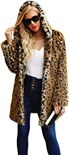 Woman Faux Fur Coats Jackets,Vanvler Ladies Leopard Winter Outerwear Hooded Warm Parka Jacket