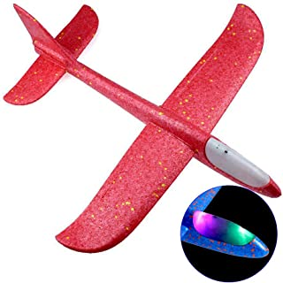 """Goolsky Flying Glider Planes With Flash LED Light 18.9"""" Foam Flight Mode Throwing Air Plane Aerobatic Airplane Outdoor Spo..."""