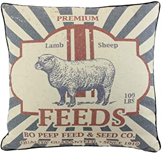 JuniperLab Farmhouse Pillows Shabby Chic Primitives Feed Sack SheepThrow Pillow Covers 16'' French Style