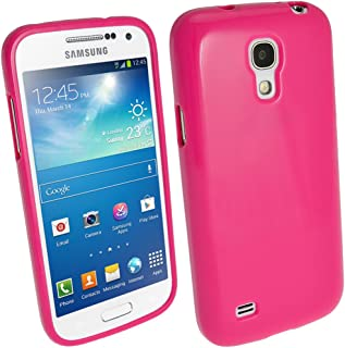 iGadgitz Pink Glossy Durable Crystal Gel Skin (TPU) Case Cover for Samsung Galaxy S4 IV Mini I9190 I9195 Android Smartphone Cell Phone + Screen Protector