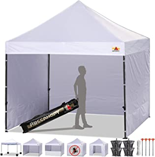 ABCCANOPY Canopy Tent Popup Canopy 10x10 Pop Up Canopies Commercial Tents Market stall with 6 Removable Sidewalls and Roller Bag Bonus 4 Weight Bags and 10ft Screen Netting and Half Wall, Bright White