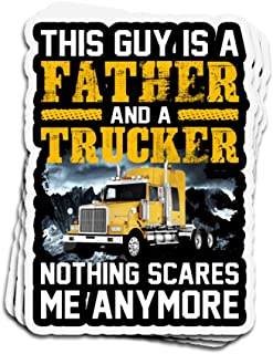 Lucky Star 3 PCs Stickers This Guy is A Father and A Trucker Nothing Scares Me Anymore 4 × 3 Inch Die-Cut Wall Decals for Laptop Window