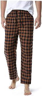 Men's Loose Sleep Bottoms Plaid Flannel Pants Bottoms Casual Pants Sleepwear Underwear L
