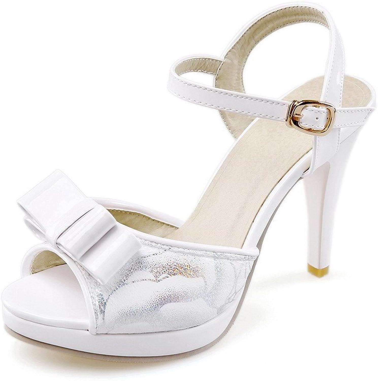 WeenFashion Women's Peep Toe High-Heels Soft Material Assorted color Buckle Heeled-Sandals